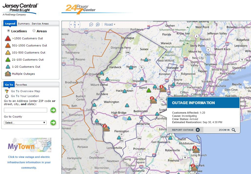 JCPL Outage Map