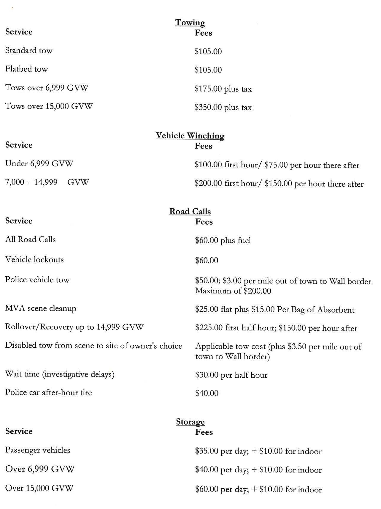 towing and impound rates  u2013 wall township police department